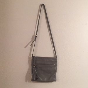 Halogen leather crossbody bag with tassel clip